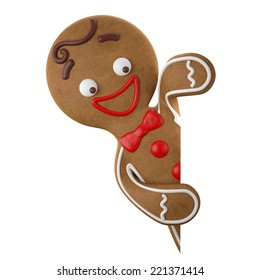 3d character with red santa hat, cheerful gingerbread, Christmas funny decoration, baked sweet candy, winter baby boy with frosting, funny fresh addition isolated on white background