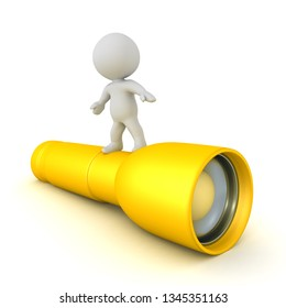 3D Character riding a flashlight. 3D rendering isolated on white.