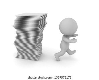 A 3D character is running away from a stack of papers. Isolated on white background.