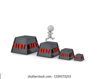 3D character running to get out of debt. Isolated on white background.