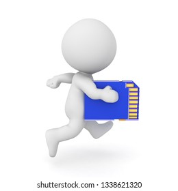 3D Character running with a SD Card. 3D Rendering isolated on white.