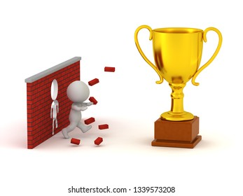 3D character running through a brick wall to get to a large trophy. Isolated on white background.