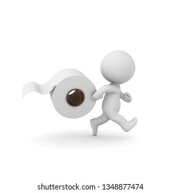 3D Character running with toilet paper in hand. 3D rendering isolated on white.