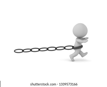 A 3D character running while being held back by a chain. Isolated on white background.