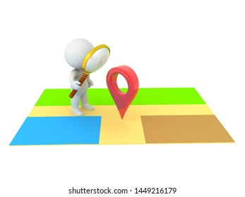 3D Character searching for location on map. Searching for location concept. 3D Rendering isolated on white.