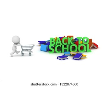 3D character with a shopping cart for back to school books. Isolated on white background.
