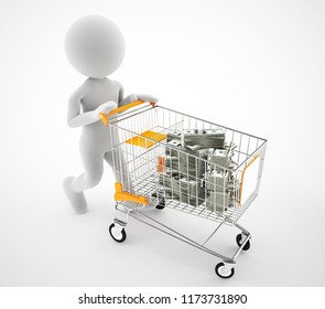 3d character shopping cart on the   dollars business finance concept illustration
