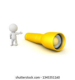 3D Character showing a flashlight. 3D rendering isolated on white.