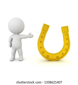 3D Character showing golden lucky horseshoe.
