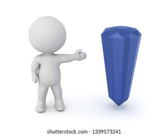 A 3D character showing a large blue crystal. Isolated on white background.