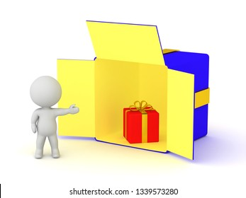 3D character showing a large open gift box with a smaller gift inside. Isolated on white background.