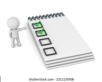 3D character showing a notepad with completed tasks. Isolated on white background.