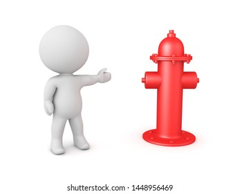 3D Character showing red fire hydrant. 3D Rendering isolated on white.