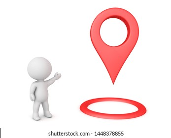 3D Character showing red location pin. 3D Rendering isolated on white.