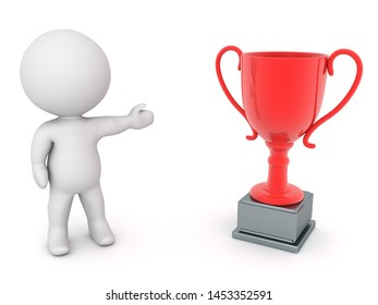 3D Character showing red trophy. 3D Rendering isolated on white.