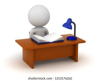 3D character sitting at a desk and studying a book. Isolated on white background.
