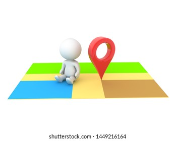 3D Character sitting next to location pin on map. 3D Rendering isolated on white.