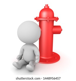 3D Character sitting next to red fire hydrant. 3D Rendering isolated on white.
