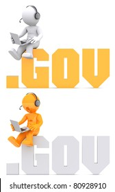3d character sitting on .GOV domain sign. Isolated on white