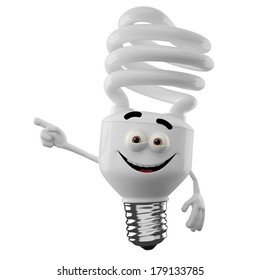 3D character of spiral light bulb isolated on white background, happy cartoon, eco illustration, save money icon for promotion