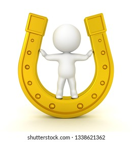 3D Character standing inside of a gold horseshoe. 3D Rendering isolated on white.
