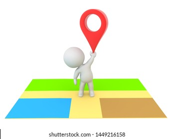 3D Character standing on map and holding up red location pin. 3D Rendering isolated on white.