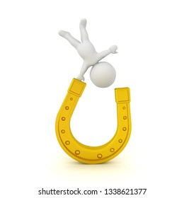 3D Character standing on one hand on a golden horseshoe. 3D Rendering isolated on white.