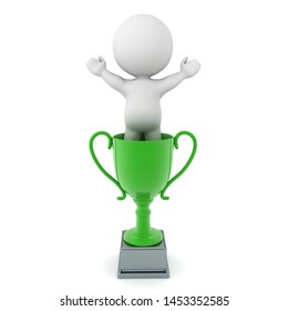 3D Character standing victorious inside green trophy. 3D Rendering isolated on white.