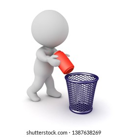 3D Character throwing soda can into the trash. 3D Rendering isolated on white.