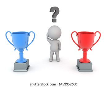 3D Character trying to choose between blue and red trophy. 3D Rendering isolated on white.