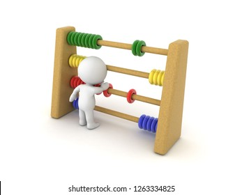 3D Character using Abacus. 3D rendering isolated on white.