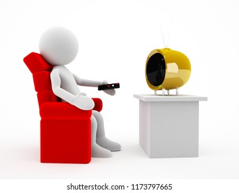 3d character watching tv on the red chair illustration