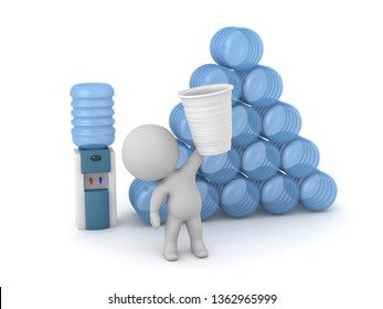 A 3D character with a watercooler and a stack of bottles. Isolated on white background.