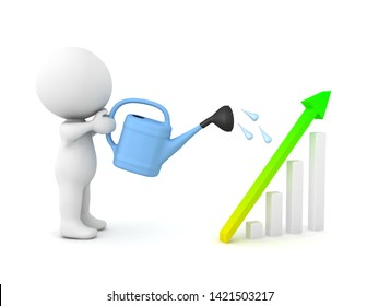 3D Character watering a growth business chart. 3D Concept image of growth and development. 3D rendering isolated on white.