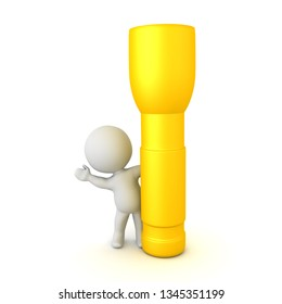 3D Character waving from behind flashlight. 3D rendering isolated on white.