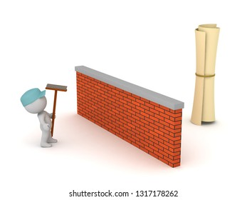 3D character wearing janitor clothes looking at a diploma. Isolated on white background.