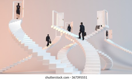 3D characters  go on the stairs to reach the goal or arrive to his destination