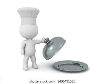 3D Chef lifting lid of cloche serving platter. 3D Rendering isolated on white.