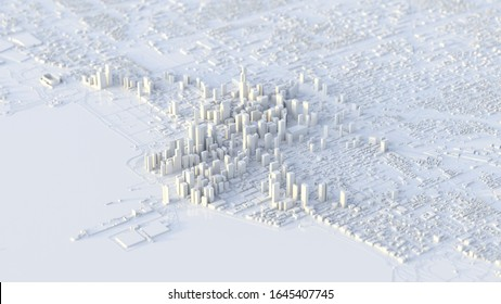 3d chicago city. suitable for city, realty, technology, and modern life themes. 3d illustration