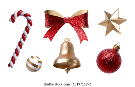3d Christmas clip art. Set of design elements, isolated on white background. Golden bell, paper bow, red ribbon, candy cane, glass ball ornament.