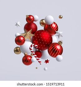 3d Christmas ornaments, red and gold balls, stars and candy cane. Seasonal festive clip art, isolated on white background. Abstract holiday concept.