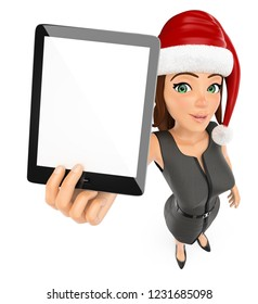 3d christmas people illustration. Businesswoman with santa hat and blank tablet. Isolated white background