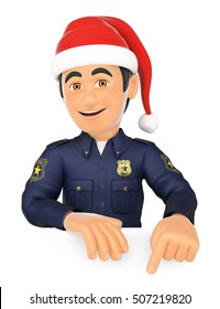 3d christmas people illustration. Policeman pointing down with a Santa Claus hat. Blank space. Isolated white background.