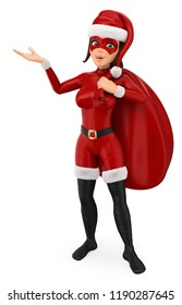 3d christmas people illustration. Woman superhero with a gift bag pointing to the side. Isolated white background