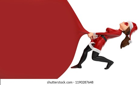 3d christmas people illustration. Woman superhero pulling a huge gift bag. Blank. Isolated white background