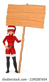 3d christmas people illustration. Woman superhero standing with a wooden blank poster. Isolated white background.