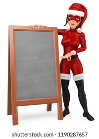 3d christmas people illustration. Woman superhero standing with a blank chalkboard. Isolated white background.