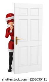 3d christmas people illustration. Woman masked superhero hidden behind a door shutting. Isolated white background.