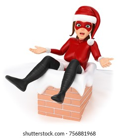 3d christmas people illustration. Woman superhero stuck in a chimney. Isolated white background.