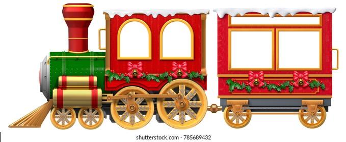 3D Christmas Train locomotive and coach